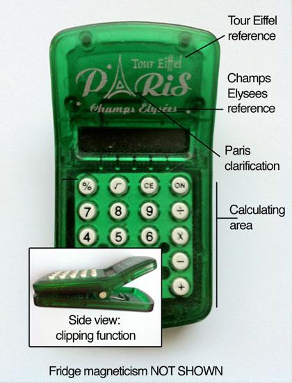 Tour Eiffel PARIS Champs-Élysées Calculator Clip Fridge Magnet
